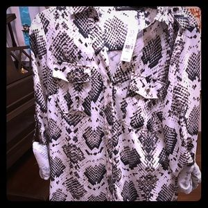 NWT NY and Co snake print blouse size small
